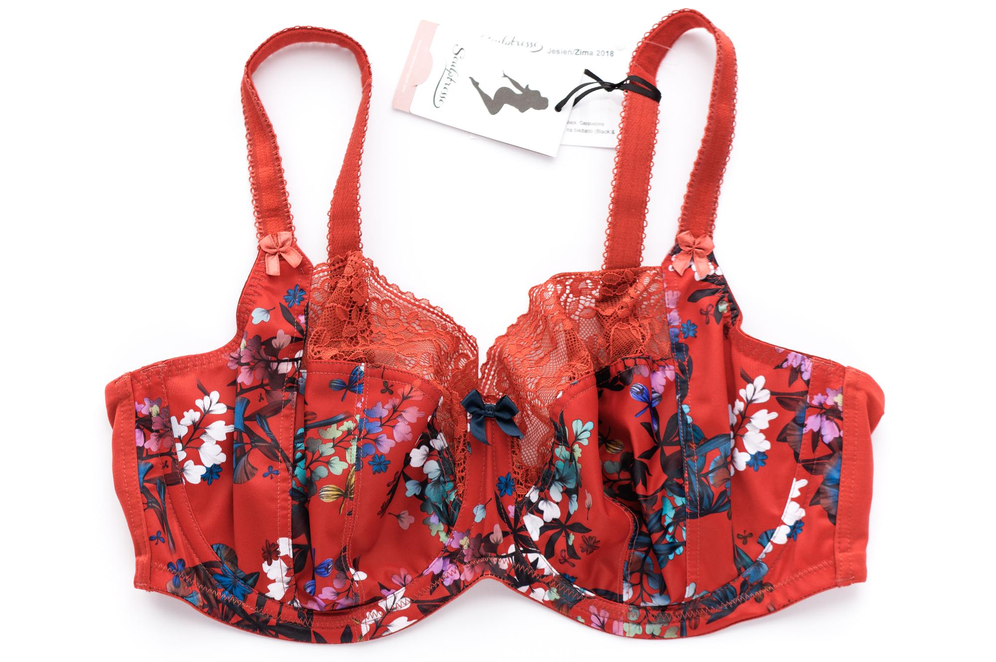 Biustonosz Chi Chi marki Sculptresse w kolorze red floral (czerwony w kwiaty) - z przodu